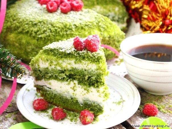 """Нежный и яркий йогуртовый торт """"Зеленая поляна"""""""