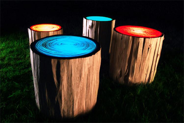 nature-inspired furniture log lamps tree rings