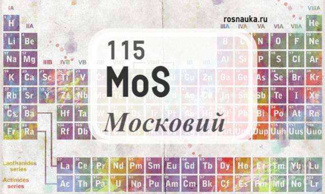 115-й элемент таблицы Менделеева официально получил название «московий»