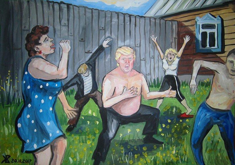 «Трамп наш»: художник из Ульяновска представил жизнь Дональда Трампа в российской глубинке
