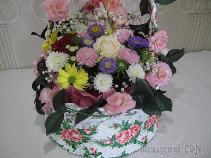 Праздничная корзина с цветами, в подарок. МК