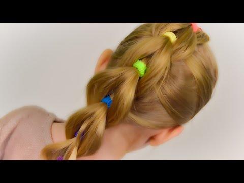 Пышная коса из цветных резинок