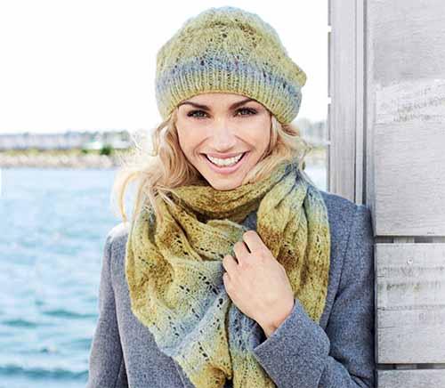 шапочка и шарф с волнистым узором