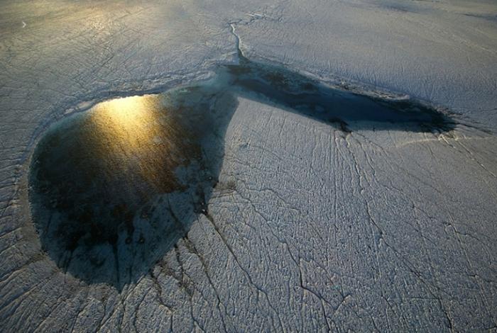 Пейзаж Гренландии на закате дня.