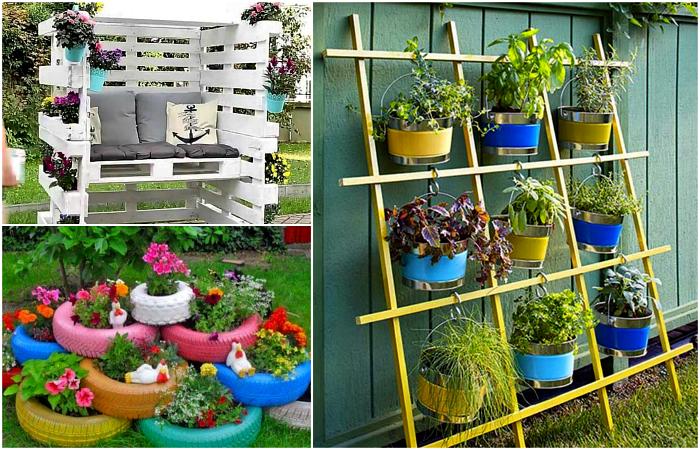Цветущие поделки для дачи и сада.
