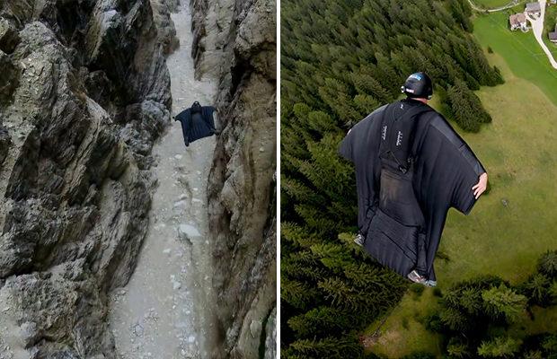 Бейсджамперы успешно пролетели сквозь расщелину в горном массиве