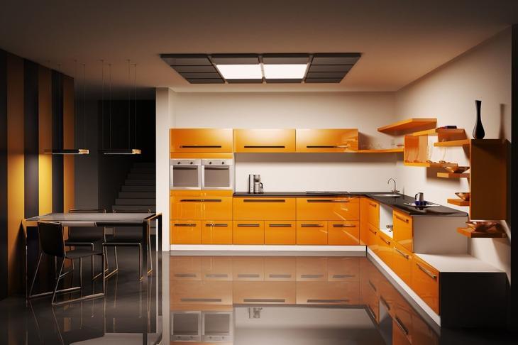 дизайн кухния оранжевого цвета фото