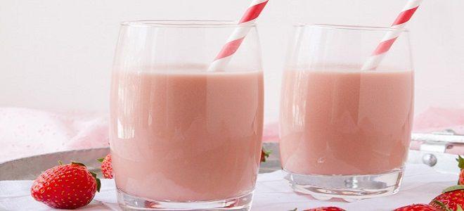 Молочный коктейль с клубникой в блендере