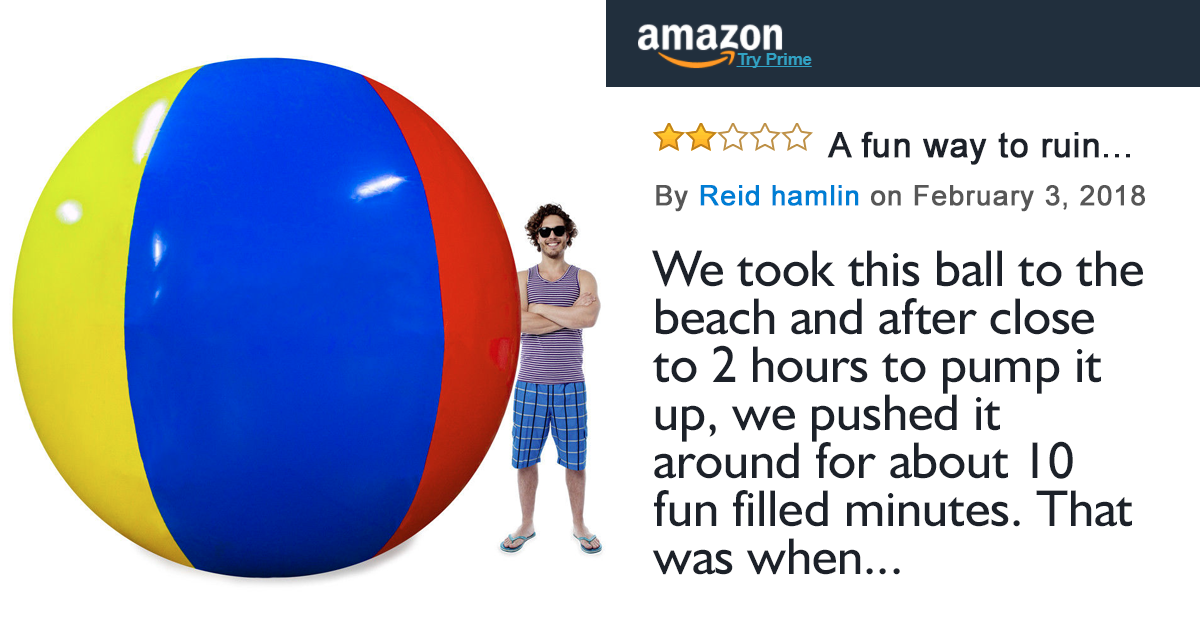Internet Can't Stop Laughing At This Amazon Review Left By A Guy Who Bought A Giant Inflatable Ball