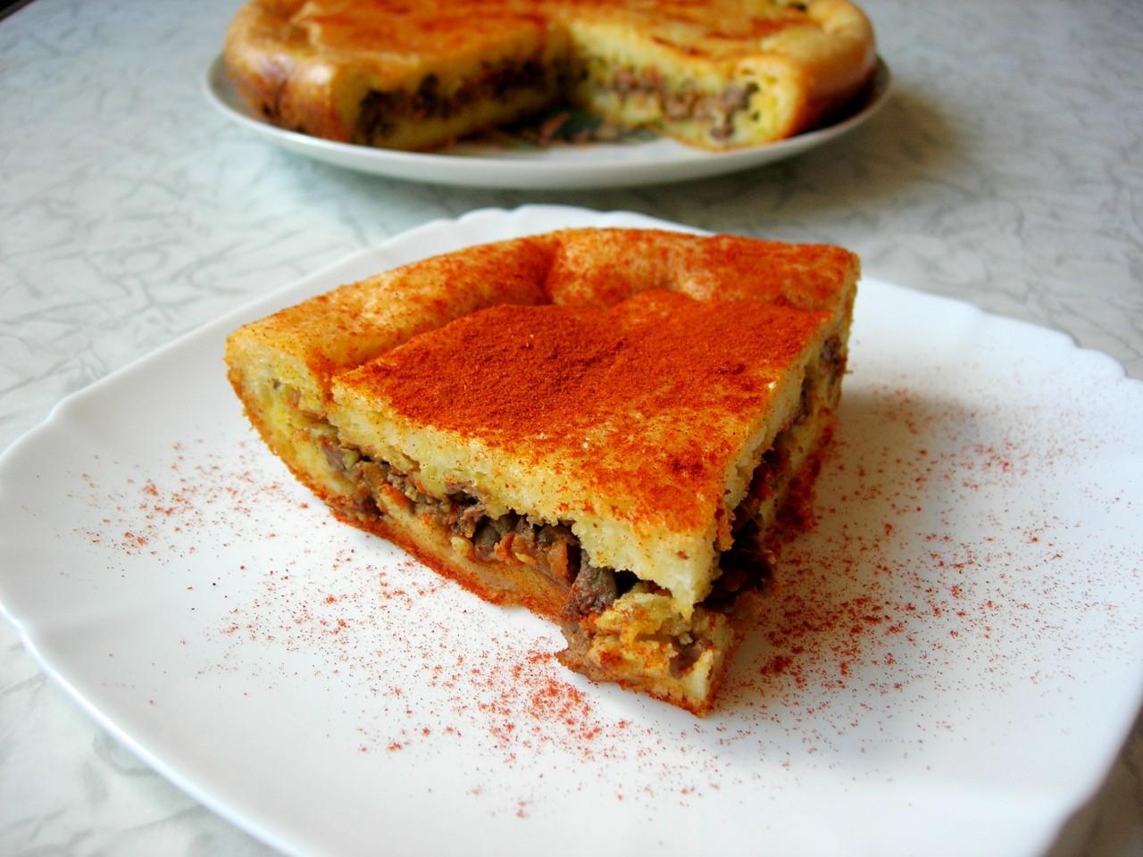 Закусочный пирог с куриной печенью (Наливной пирог)