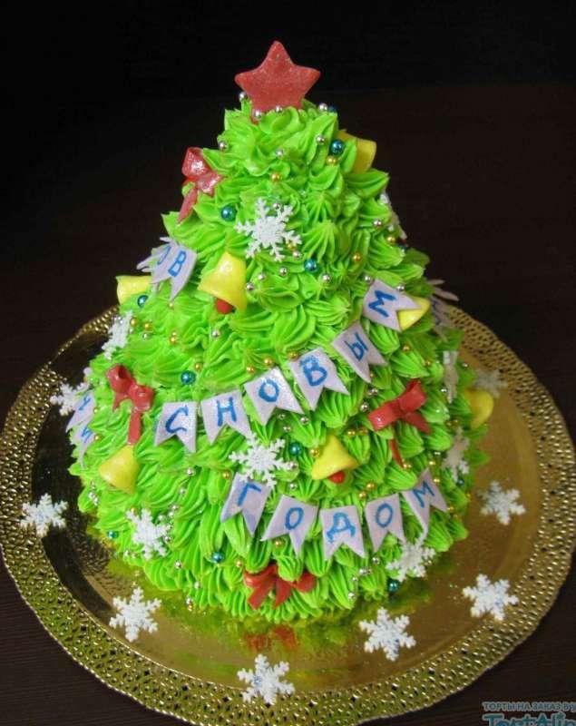 """Новогодний торт """"Елка"""" без мастики со взбитым кремом"""