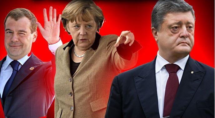 Порошенко получил по щелчку в лоб от Меркель и Медведева