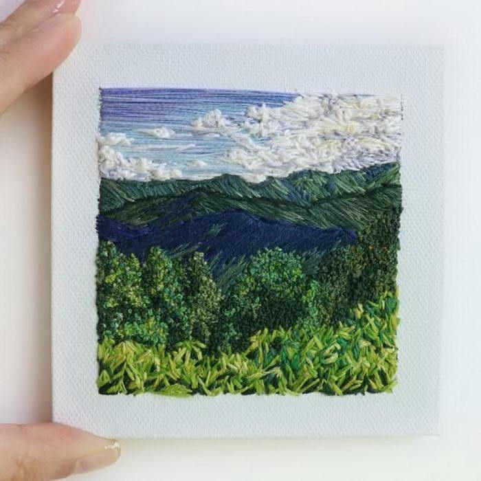 Вышитые пейзажи Carolina Torres