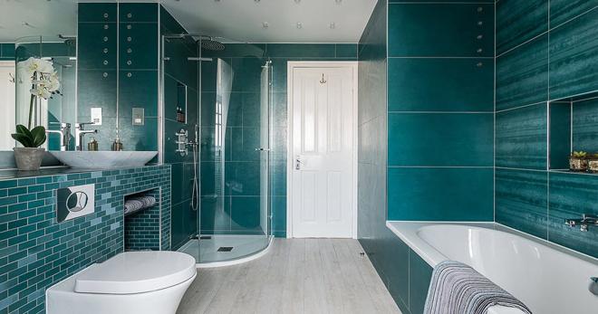 Дизайн плитки в ванной - самые оптимальные сочетания цветов и способы укладки