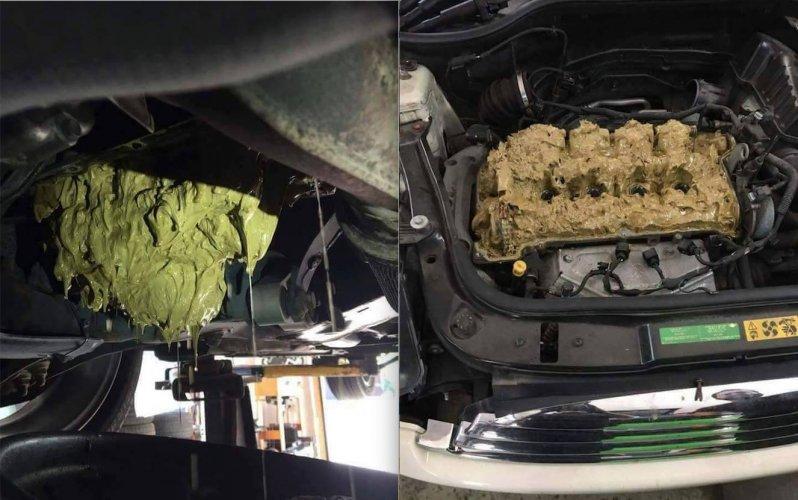 Девушка случайно залила в двигатель «омывайку» вместо масла (5 фото)