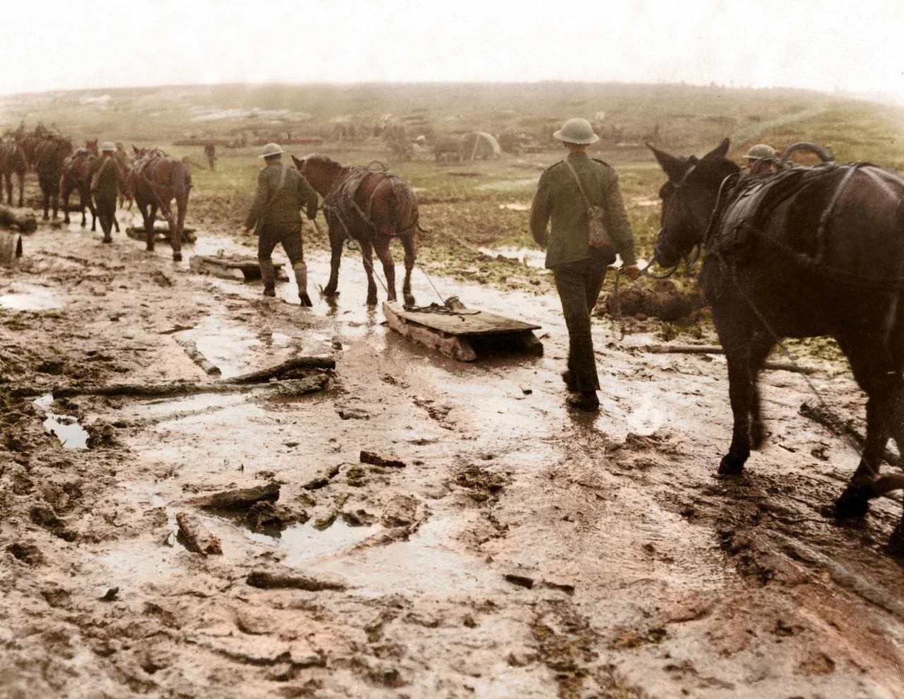 Лошади везут самодельные сани через грязь архивное фото, колоризация, колоризация фотографий, колоризированные снимки, первая мировая, первая мировая война, фото войны