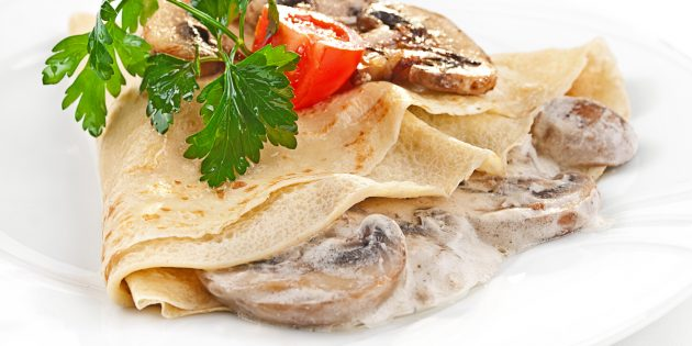 Начинки для блинов: грибная с сырным соусом
