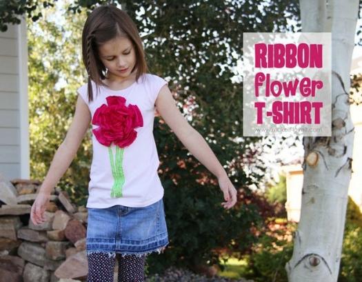 Украшаем футболку цветком из ткани