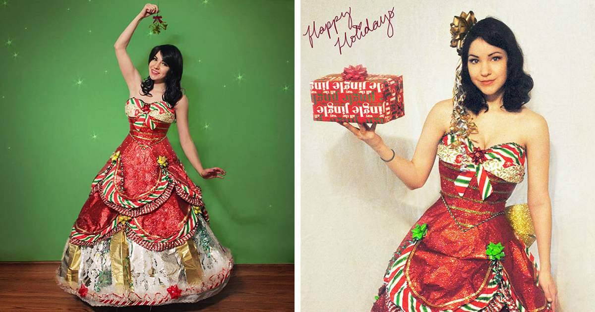 """""""I've Been Making Dresses From Wrapping Paper After The Holidays For A Few Years"""""""