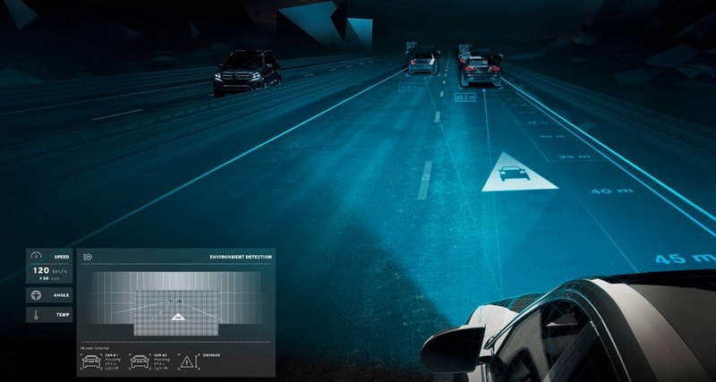 Автомобильные фары, проецирующие изображения на дорогу