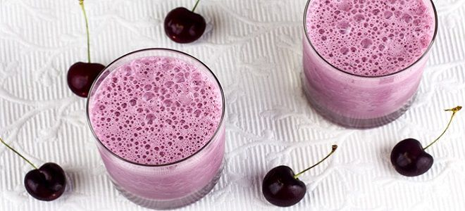 Молочный коктейль с вишней в блендере