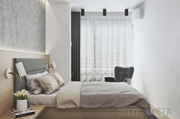 Интерьер квартиры в стиле минимализм в ЖК Лайнер от мастерской Geometrium