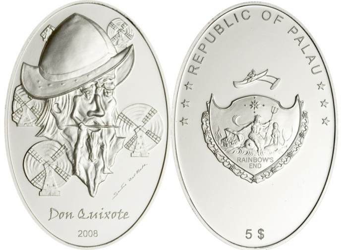 Монета-иллюзия с изображением Дон Кихота и Санчо Пансы./Фото: news.coin.su