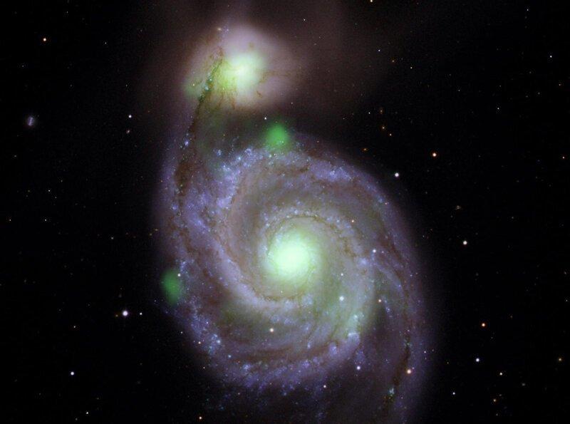 Свечение гравитационных гигантов галактика, космос, столкновение