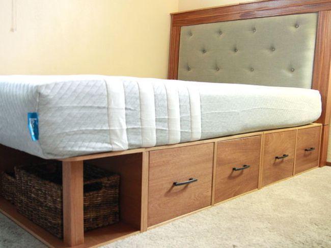 Модульная двухспальная кровать с ящиками