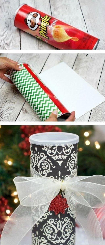 2. Или для другого подарка идеи, картонная банка, рукоделие, своими руками, сделай сам, упаковка от чипсов