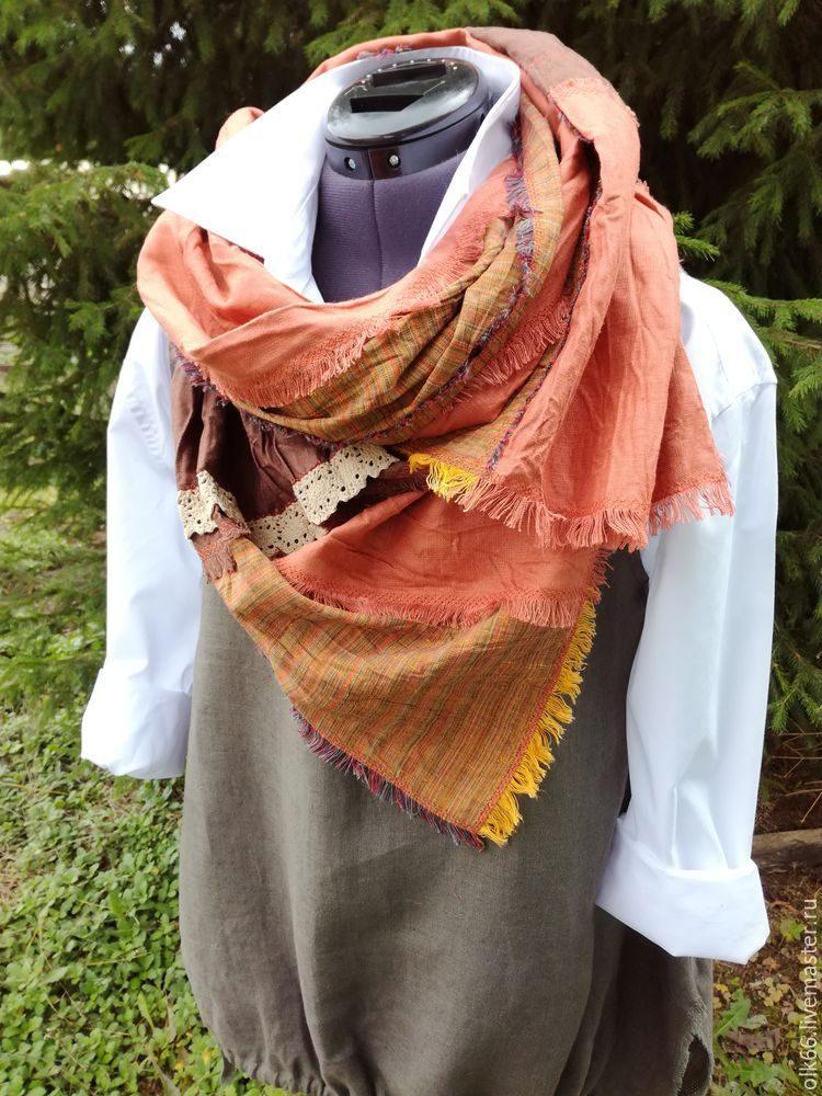 Оригинальный льняной шарф в стиле бохо