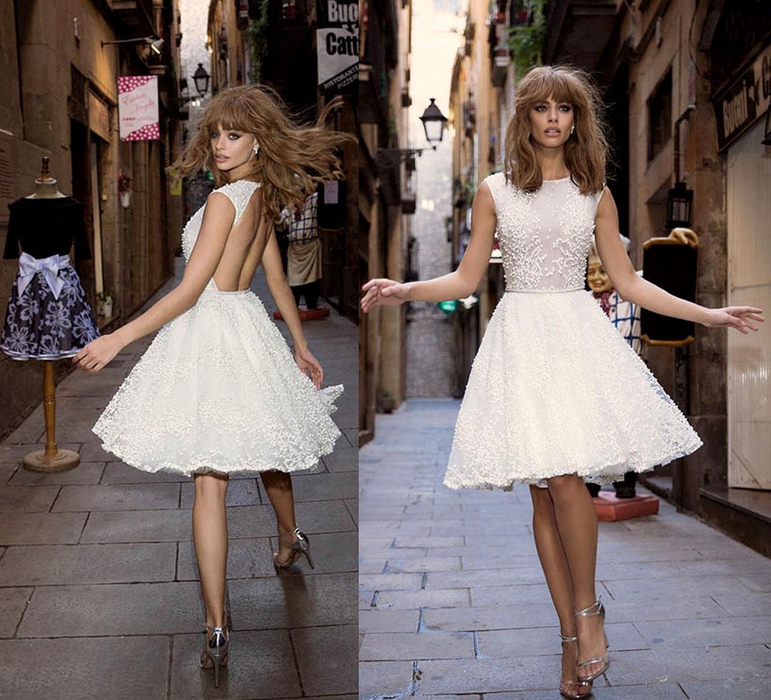 25 самых красивых примеров коротких свадебных платьев