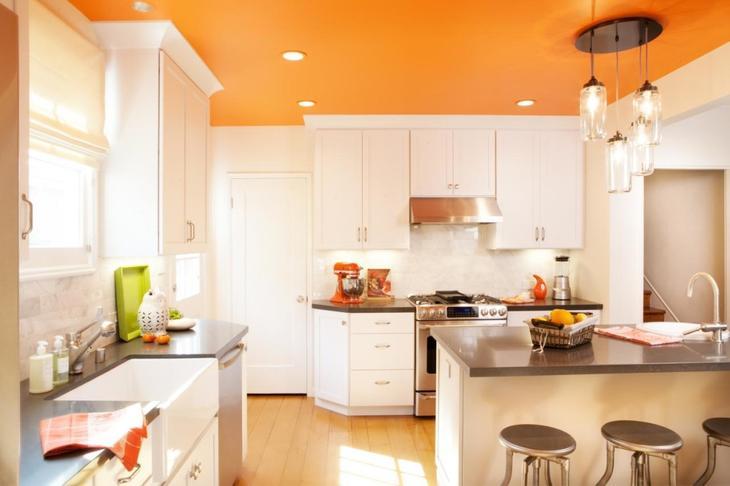 дизайн кухния оранжевого цвета