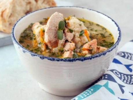 Суп рыбный с икорными клецками