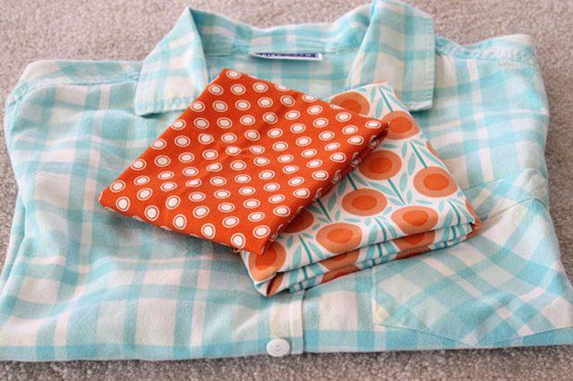 Удобный, простой и красивый фартук из старой рубашки