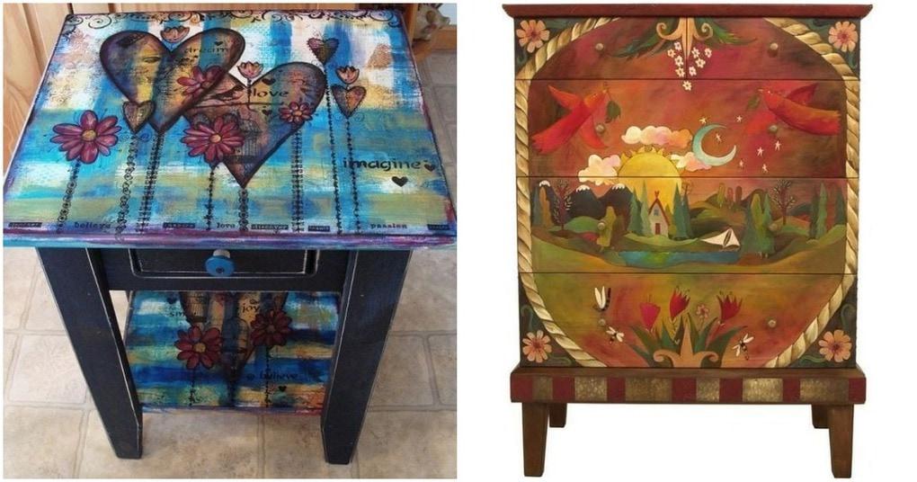 Креативные идеи преобразить старую мебель с помощью росписи