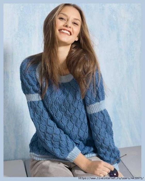 """ПЕТЕЛЬКА К ПЕТЕЛЬКЕ. Пуловер покроя реглан с рукавами """"баллон"""""""