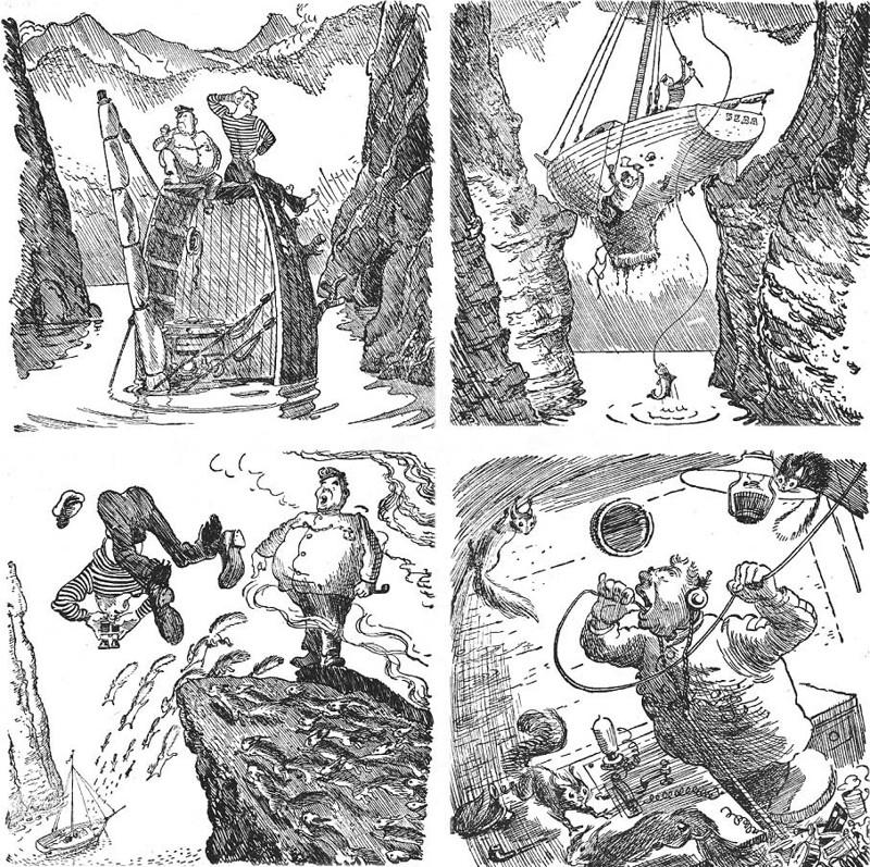 """Картинки из советской книги детства """"Приключения капитана Врунгеля"""", 1957"""