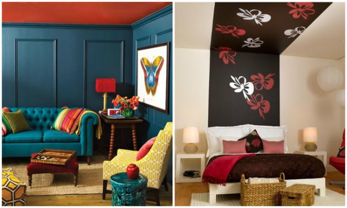 15 стильных интерьеров, которые убеждают, что цветной потолок - отличная идея