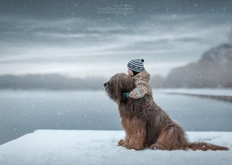 Фотограф делает сказочные снимки детей с большими собаками