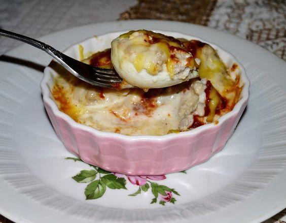 Запеканка из яиц с мясным фаршем