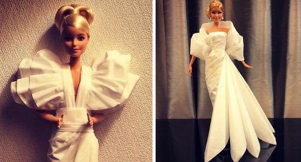 Мастер создает свадебные платья для своих кукол Барби, используя туалетную бумагу вместо ткани