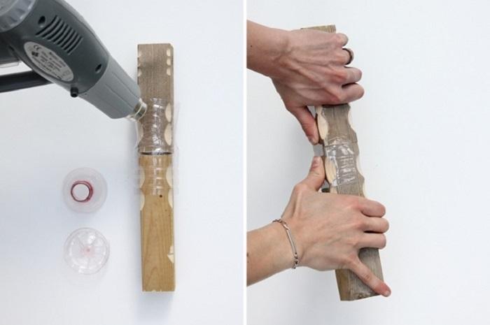 Мастерица использует старые пластиковые бутылки, чтоб смастерить мебель!