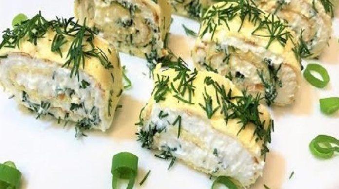 Нежная закуска с яичными блинчиками: простое блюдо