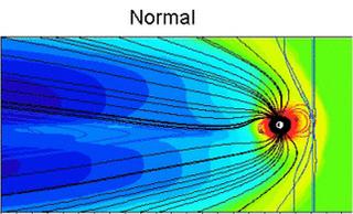 нормальное состояние магнитосферы выглядит так: