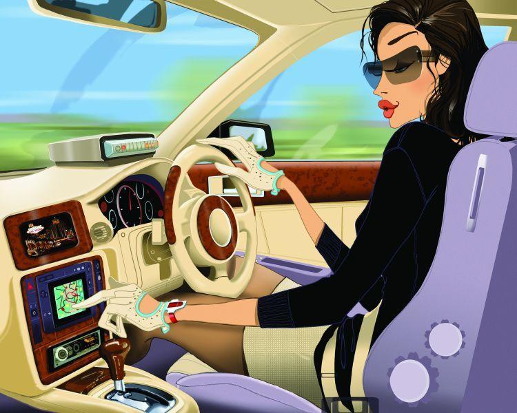 Девушка за рулем... Улыбнемся)))