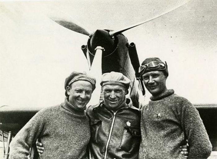 Чкалов, Байдуков и Беляков перед рекордным перелетом в Северную Америку, 1937 год, СССР было, история, фото
