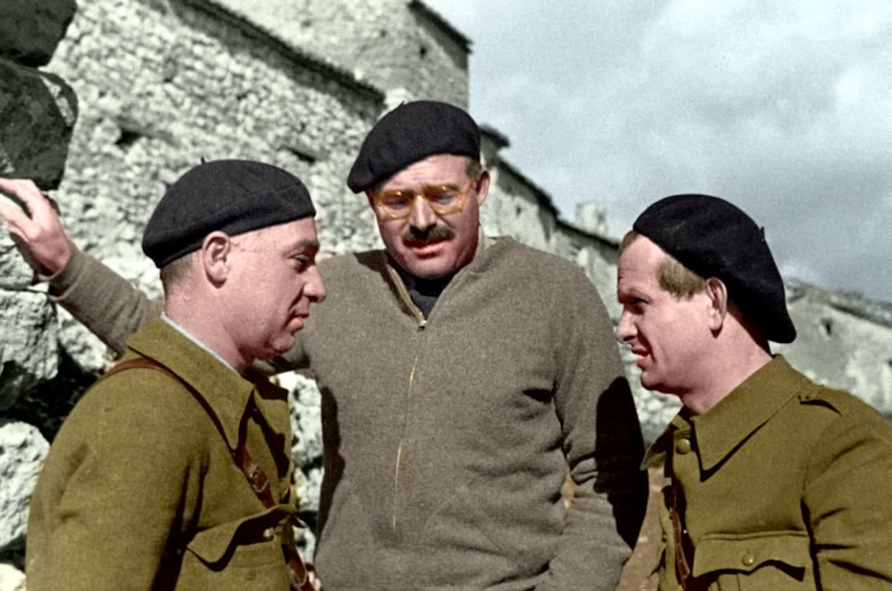 Ernest Hemingway with Ilya Ehrenburg and Gustav Regler during the Spanish Civil War, not dated, circa 1937.