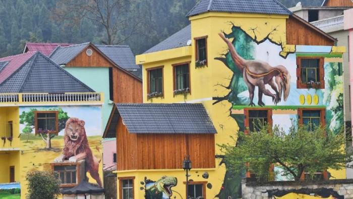 Китайскую деревушку разукрасили 3D-муралами для привлечения туристов