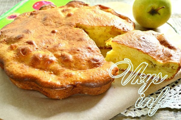 Шарлотка на кефире с яблоками